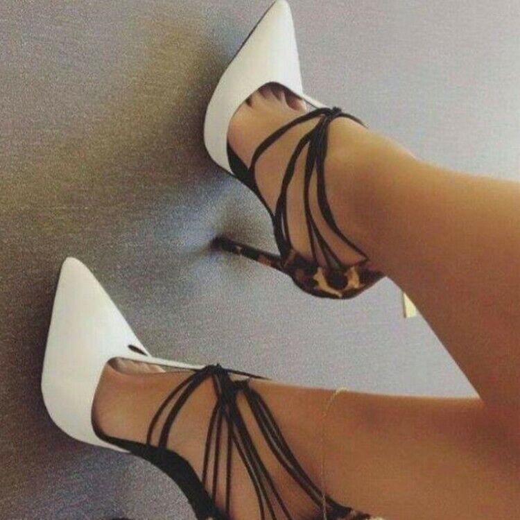 Schnalle Pumps Blingbling Spitz Damen Stilettos Heel