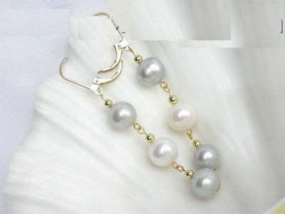 Charming AAA 6-7mm real South sea white natural pearl dangle earrings 14k gold