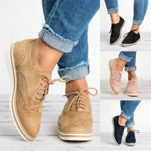 Womens-Flats-Low-Heels-Flatform-WingTip-Brogues-Ladies-Lace-Up-Oxford-Shoes-Size