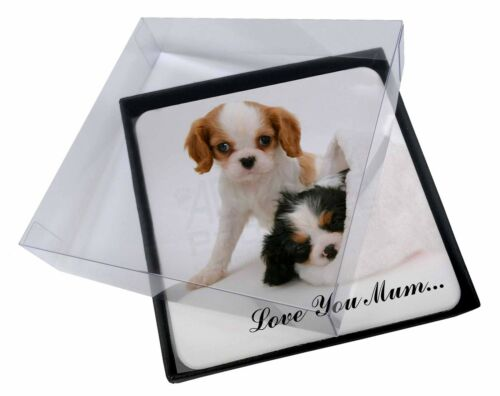 4x Cavalier King Charles 'Love You Mum' Picture Table Coasters Set, ADSKC10lymC