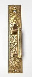 Antique-Ornate-Brass-Door-Handle-Latch-Knob-13-034-x-2-1-2-034-Eastlake