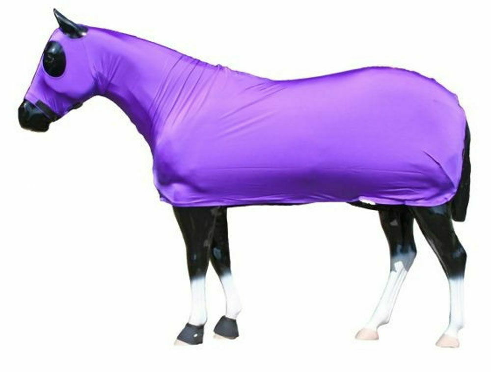 Horse Full All Body Zipperot Lycra Slinky Stretch Fabric Suit  Large lila