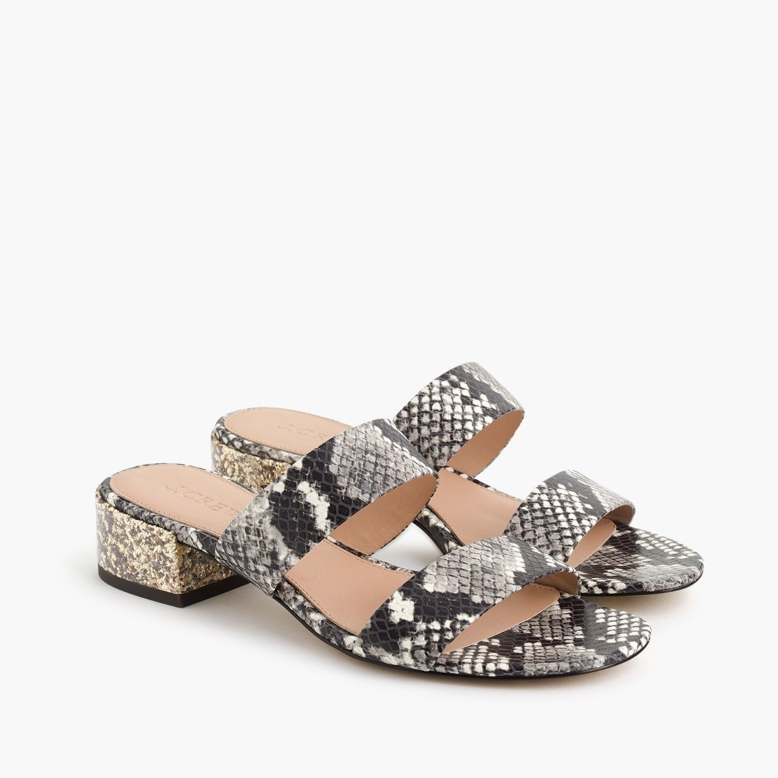 J.Crew TWO-STRAP LEATHER SLIDE SANDALS IN FAUX SNAKESKIN J2599 6H 7H 8 8H 9H 10