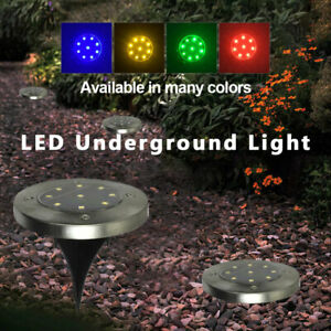 9-LED-Solar-Powered-Ground-Lights-Outdoor-Garden-Lawn-Floor-Patio-Decking-Lamps