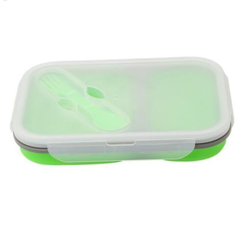 Foldable Microwave Oven Box Bento Silicone Lunch Box Bento Picnic Travel T3