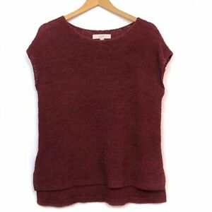 ANN-TAYLOR-LOFT-Cap-Sleeve-Sweater-Top-Solid-Wine-Red-Sleeveless-Blouse-Small