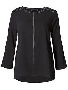 M-amp-S-Marks-Spencer-Negro-Cuello-Redondo-Manga-Larga-Camiseta-Blusa-Top-12-14-16-18-20