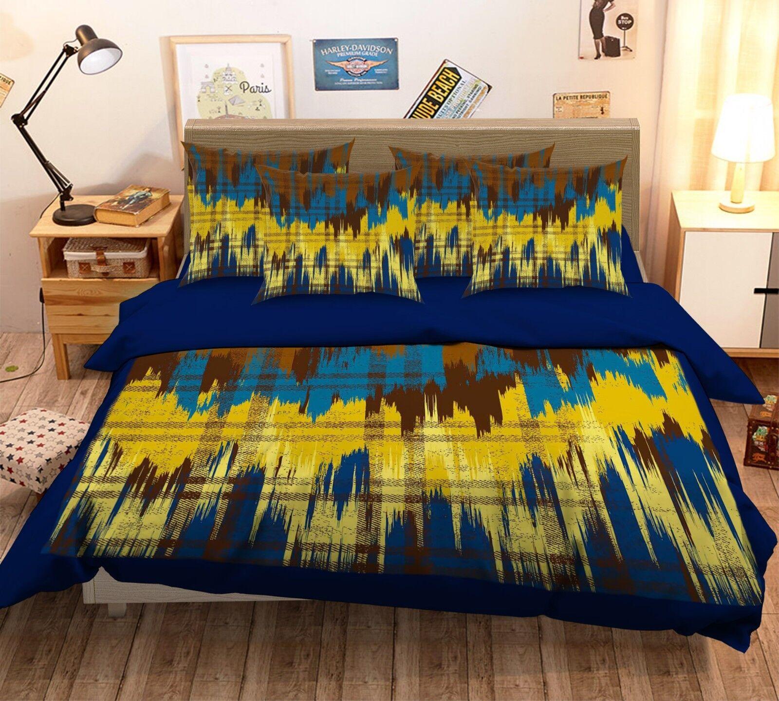3D giallo Lattice 4 Bed Pillowcases Quilt Duvet Cover Set Single Queen King AU