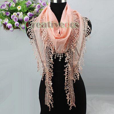 New Fashion Women's Striped Floral Lace Trim Tassel Triangle Scarf Shawl Wrap
