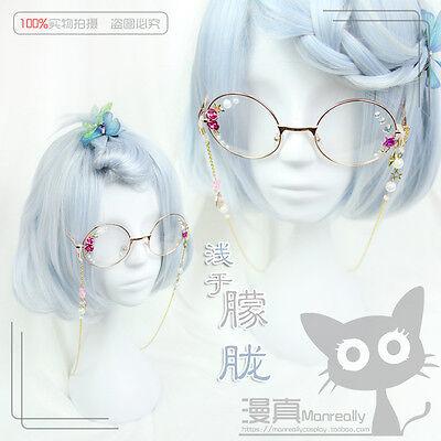 White Mixed Blue Sweet Lolita Short Wig Harajuku Gradient Cospaly Daily Hair