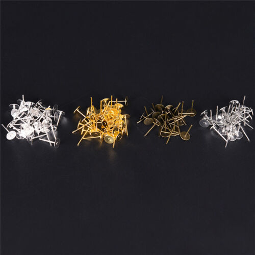 200PCS 6mm Flat Pad Blank Base Stud Earring DIY Jewelry Making Findings ER