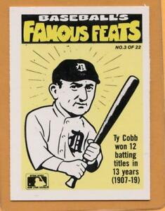 Details About 1986 Fleer Famous Feats Baseball Card 3 Ty Cobb