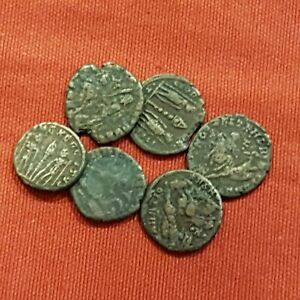 Roma-Lote-de-6-Monedas-del-Bajo-Imperio-A-identificar