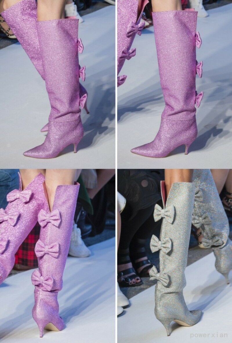 Satin mujer Knee High botas Runway Runway botas Occident Pointed Toe Back Bowknot zapatos New 58bbcd