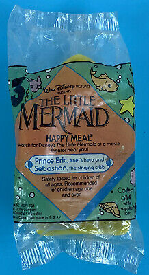 McDonalds 1989 Happy Meal #3 Little Mermaid Prince Eric Sebastian Crab Toy NEW