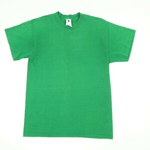 Vtg-90s-Plain-Blank-Single-Stitch-T-Shirt-Worn-Thin-Soft-Faded-Green-Grunge-S-M