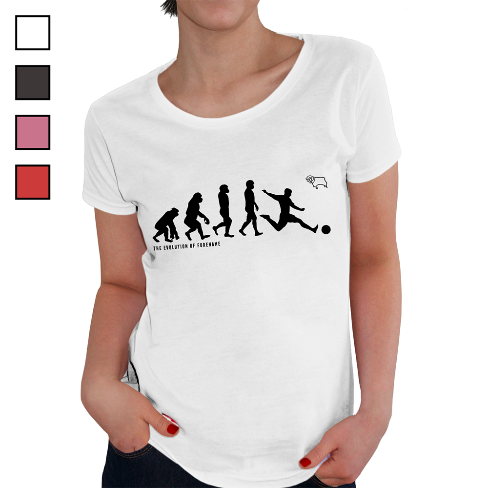 Derby County F.C - Personalised Ladies T-Shirt (EVOLUTION)