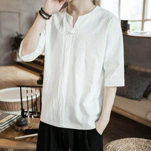 Cotton Half Sleeve T Shirt Men Chinese Linen Tunic Loose Casual Tops Vintage Innovatis Suisse Ch