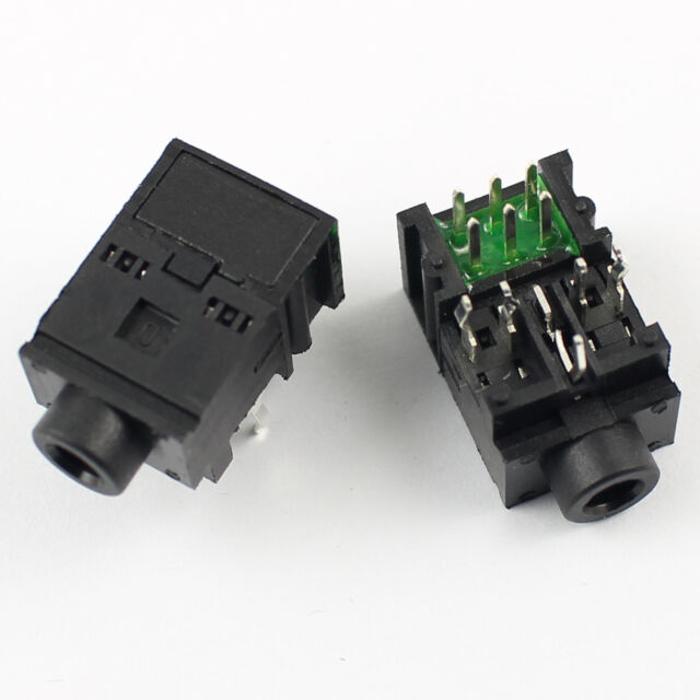 20Pcs 3.5mm 1//8 Female Audio Connector 5 Pin DIP Stereo Headphone Jack PJ307C