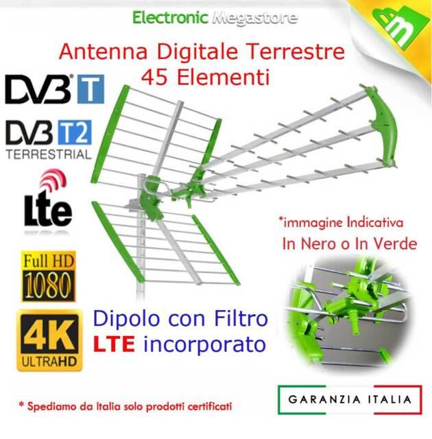 ANTENNA TV DIGITALE TERRESTRE UHF ALTO GUADAGNO 45 ELEMENTI LTE-4G