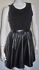 ATMOSPHERE BLACK EMBELLISHED COLLAR PU SKATER PARTY DRESS UK10 EU38