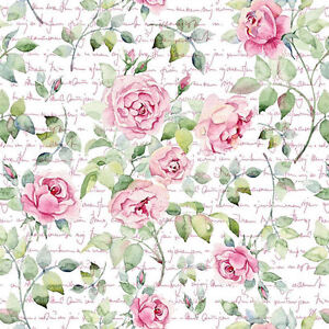 Dollhouse Miniature Shabby Chic Wallpaper Pink Roses Floral 112