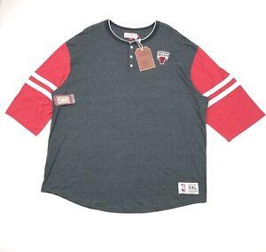 Chicago-Bulls-Mitchel-amp-Ness-NBA-Home-Stretch-Henley-T-Shirt-Mens-5XL