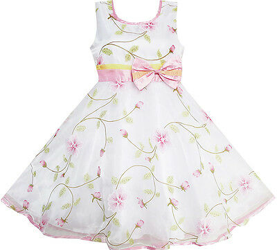 Flower Girl Dress Flower Leaves Wedding White Pageant Bridesmaid Size 4-12 Party
