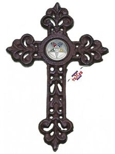 Ladies-of-the-Eastern-Star-Cast-Iron-Cross-with-Masonic-Concho-9-1-2-X-6-1-2