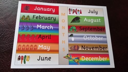 CHILDMINDER HUNGRY CATERPILLAR MONTHS OF THE YEAR  A4 LAMINATED POSTER EYFS