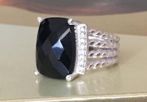 925-Sterling-Silver-16x12mm-Black-Onyx-Diamond-Wheaton-Ring-Size-6