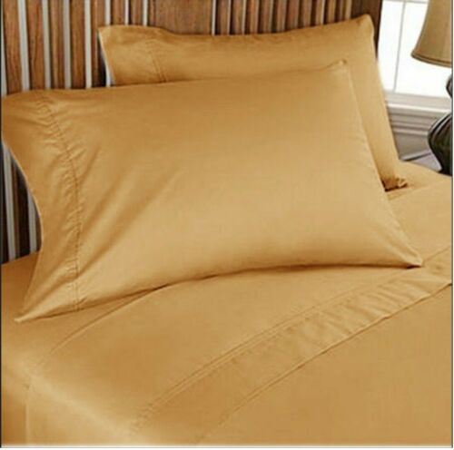 Fitted Sheet+2 Pillow Case Extra Depth Pocket 1000 TC AU Queen Solid Colors
