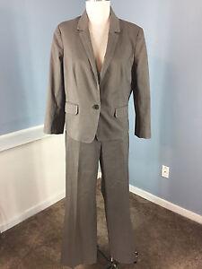 Ann Taylor Loft Brown Cotton Pant Suit Career Cocktail