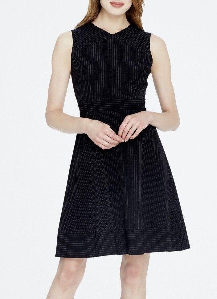 Tahari ASL 7220M485 schwarz Pinstripe Sleeveless V-Neck Fit & Flare Dress -