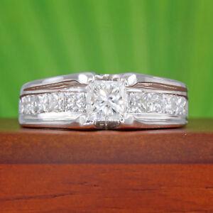 35f9158e34069 Details about 1-1/3 carat tw Princess Cut Diamond Bridge Wedding Ring 14k  White Gold 1.31 ct