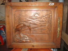 1 PORTE ANCIENNE EN NOYER-MOTIF LE HERON AU LONG COU--ANCIENT DOOR--N°63