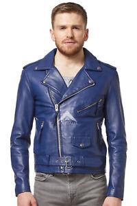 039-Brando-039-pour-Hommes-en-Cuir-Veritable-Veste-Bleu-Napa-Designer-Ajustee-Style-Motard