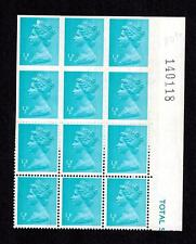 MARGINAL BLOCK OF 12 STAMPS 1/2p IMPERF DEFINITIVE MACHIN ERROR +FLAW CROWN