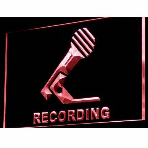 Recording Neon LED sign Microphone On Air music studio on//off light sign