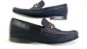 Donald-Pliner-Dacio-HB-Men-039-s-Sz-9-5-Black-Herringbone-Mesh-Loafers-Shoe-039-s