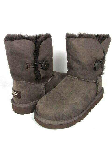 cc133b1fb5c UGG Australia Bailey Button Chocolate Sheepskin Kids BOOTS 3