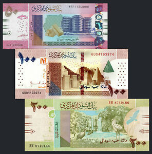 SUDAN-SET-OF-3-Pcs-50-100-200-POUNDS-2018-2019-P-NEW-UNC