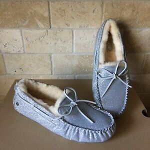 3e630309c8d Details about UGG Dakota Sparkle Silver Slippers Moccasins Shoe Suede  Sheepskin Size 10 Womens