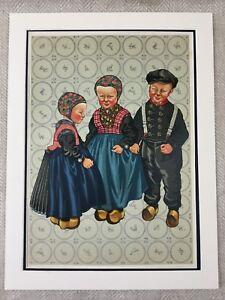 1932-Art-Deco-Stampa-Olandese-Bambini-Clogs-Costume-Abito-Olanda-Cromolitografia