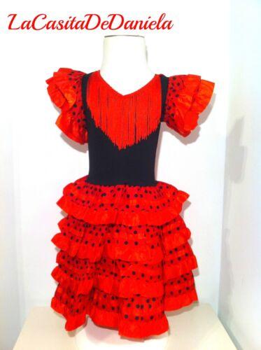 Vestido disfraz de flamenca niña rojo//negro// Flamenco Costume Spanish dress girl