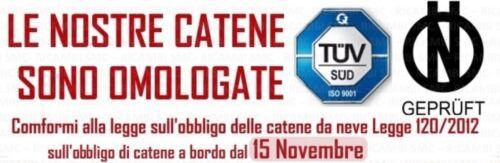 CATENE DA NEVE OMOLOGATE  9 mm  GRUPPO 60 PNEUMATICI 165//75//14