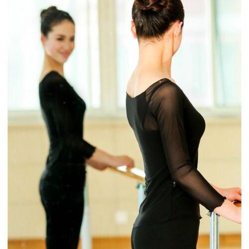 Women Lady Ballet Dance Wear Sheer Mesh Stretch Warm Up Top Dancewear Modern Red