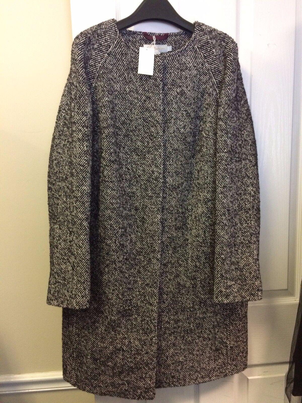 Boden Sienna Herringbone Coat Size US 4R Wool Blend