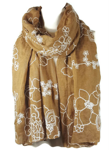 Gold NEW Ladies Embroidered Floral Scarf Maxi Wrap Shawl Pashmina Soft Warm