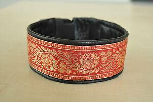 Hundehalsband-Windhundhalsband-rot-5-5cm-breit-Leder-Borduere-nach-Ihren-Massen